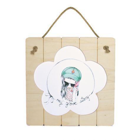 Lámina con marco de madera y cuerda 39 x 39 cm